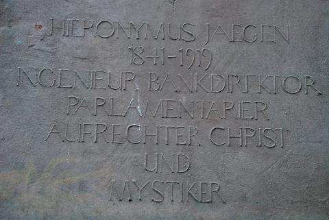 Franz Schönberger, Gedenktafel für Hieronymus Jaegen, 1997 |
